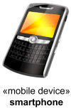 Mobile smartphone device depicted using custom icon.